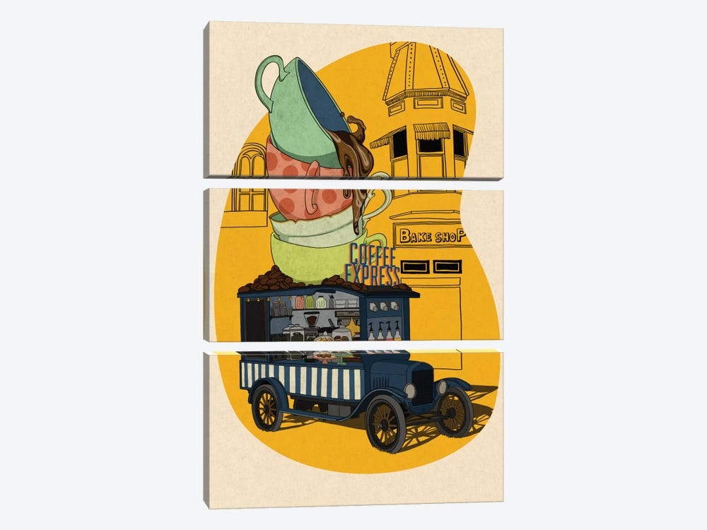 Coffee Express by 5by5collective 3-piece Art Print