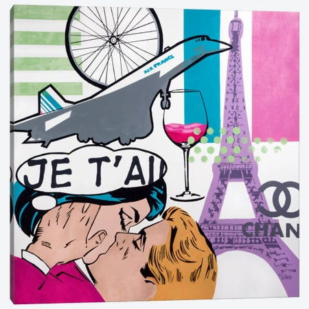 I Love Paris Canvas Print #FWD6} by Francis Ward Canvas Art Print