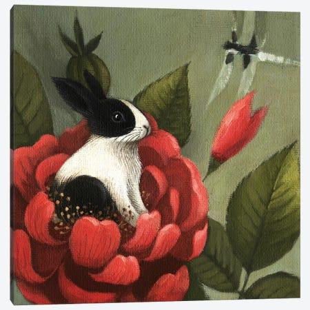Flower Rabbit Canvas Print #FXP10} by Foxy & Paper Canvas Artwork