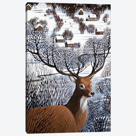 Long Winter in Antler Hills Canvas Print #FXP13} by Foxy & Paper Canvas Wall Art