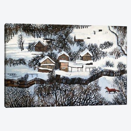 Mr. Fox's Silent Walk Canvas Print #FXP16} by Foxy & Paper Canvas Art Print