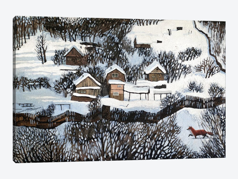 Mr. Fox's Silent Walk by Foxy & Paper 1-piece Canvas Print