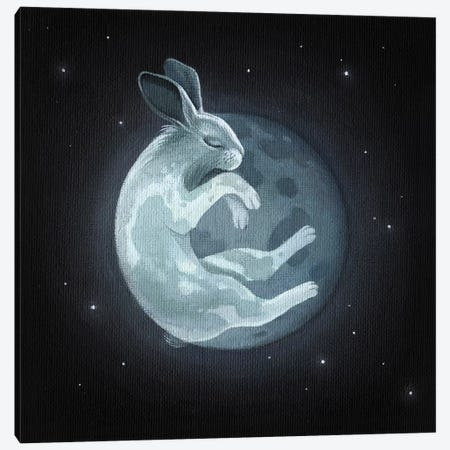 Rabbit Moon Canvas Print #FXP19} by Foxy & Paper Canvas Wall Art