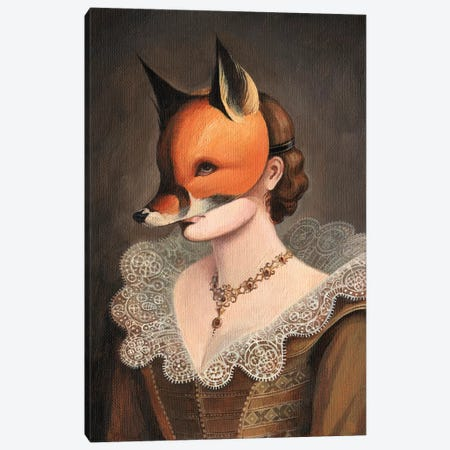 Woman in a Fox Mask Canvas Print #FXP25} by Foxy & Paper Canvas Wall Art