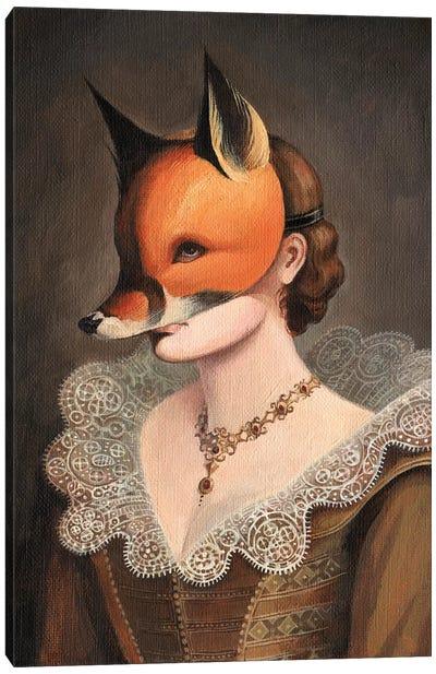 Woman in a Fox Mask Canvas Art Print