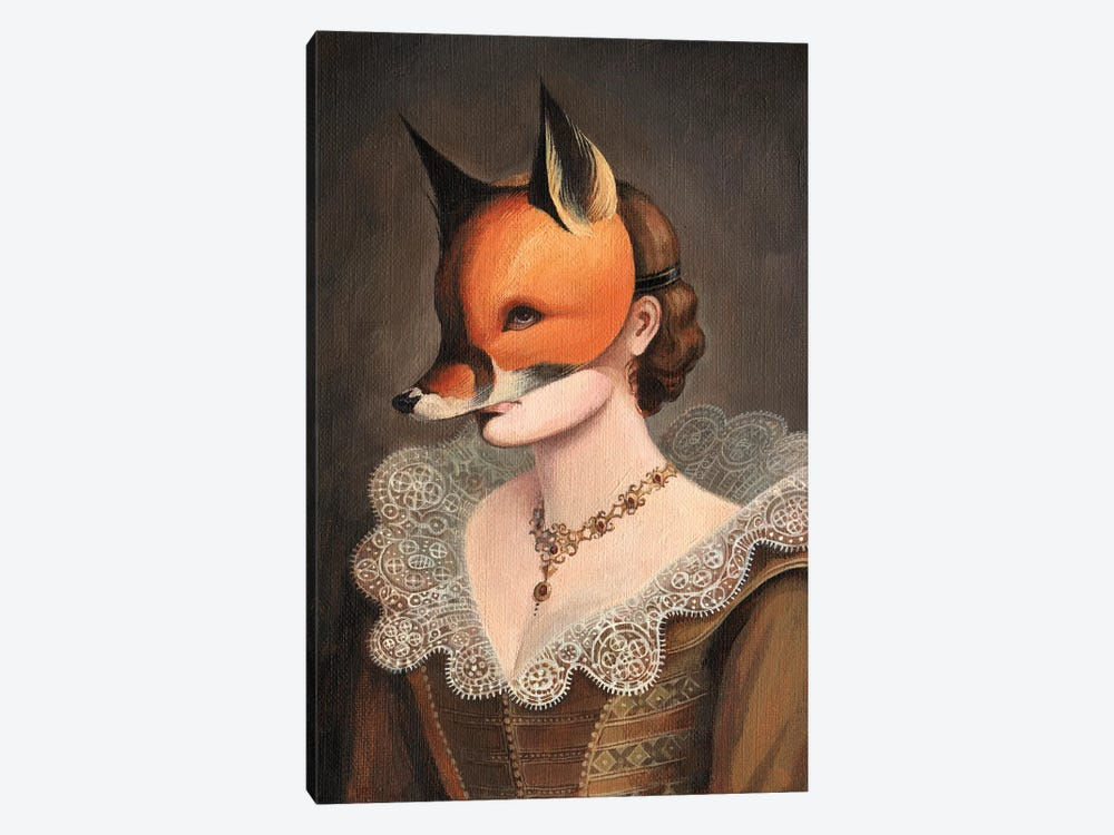 Woman in a Fox Mask by Foxy & Paper 1-piece Canvas Art Print