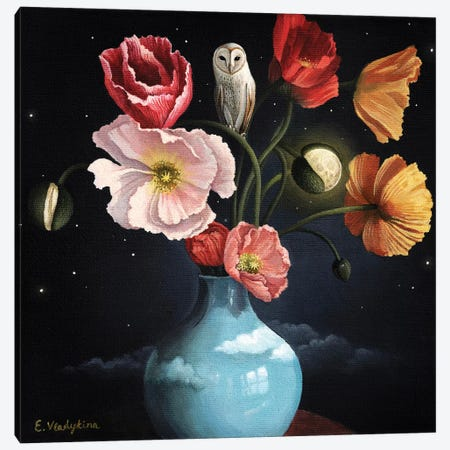Blooming Moon Canvas Print #FXP3} by Foxy & Paper Canvas Artwork
