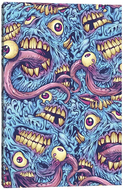 Eyeballs and Teeth Pattern Canvas Art Print