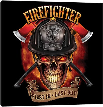 Fire Fighter Skull Canvas Art Print
