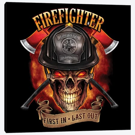 Fire Fighter Skull Canvas Print #FYD11} by Flyland Designs Art Print