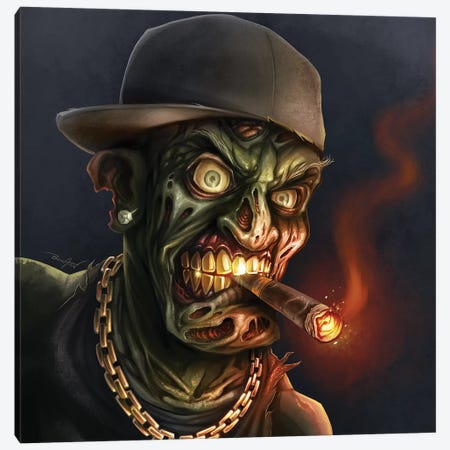 Gangster Hip-Hop Zombie Canvas Print #FYD14} by Flyland Designs Canvas Wall Art
