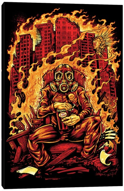 Gas Mask Destroyed City Canvas Art Print