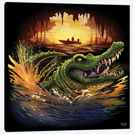 Alligator In Swamp Canvas Print #FYD1} by Flyland Designs Canvas Wall Art