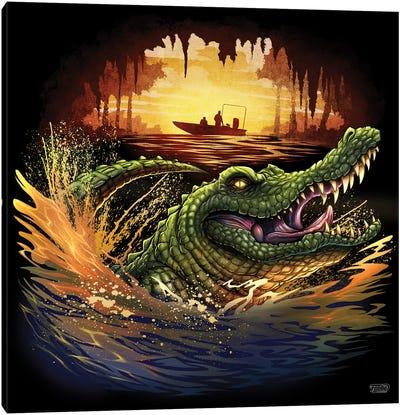 Alligator In Swamp Canvas Art Print
