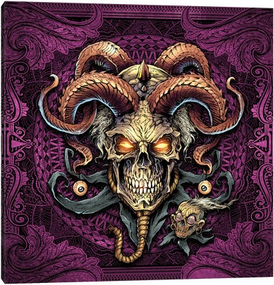 Jester Skull With Horns I Canvas Art Print