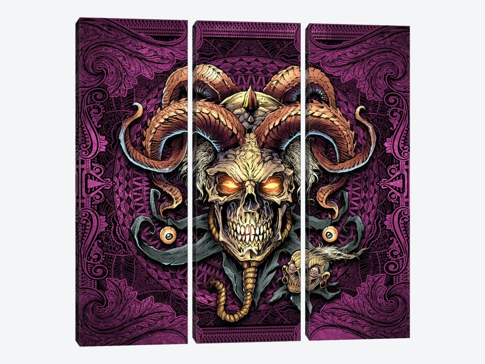 Jester Skull With Horns I by Flyland Designs 3-piece Canvas Artwork