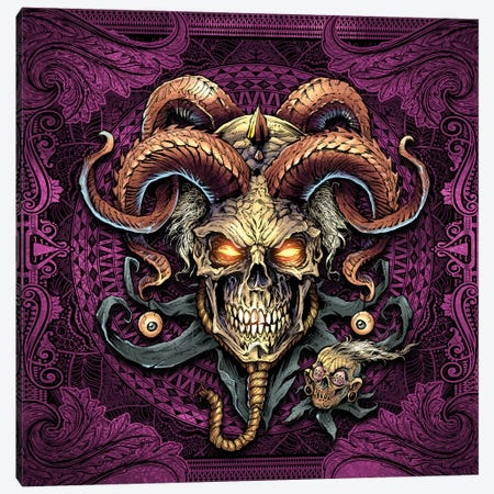 Jester Skull With Horns I Canvas Print #FYD20} by Flyland Designs Canvas Wall Art