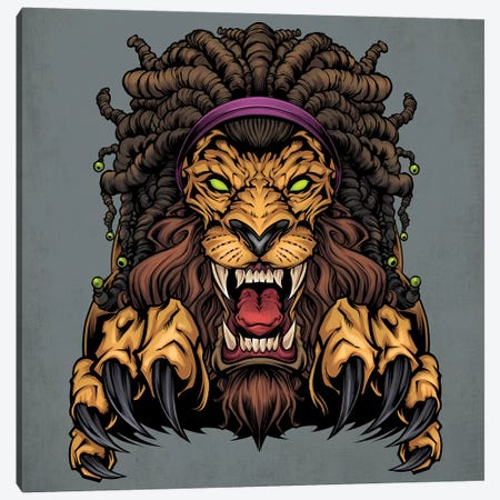 Lion With Dreadlocks Canvas Print #FYD21} by Flyland Designs Canvas Artwork