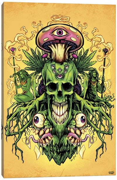 Marijuana Skull and Mushrooms Canvas Art Print