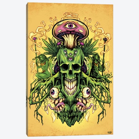 Marijuana Skull and Mushrooms Canvas Print #FYD23} by Flyland Designs Canvas Wall Art