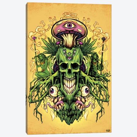 Marijuana Skull and Mushrooms Canvas Print #FYD23} by Flyland Designs Canvas Wall Art