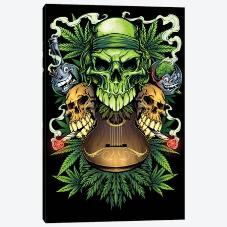 Marijuana Skulls Canvas Print #FYD24} by Flyland Designs Canvas Art Print