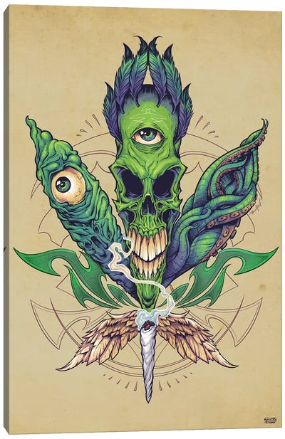 Pot Leaf Skull Canvas Art Print