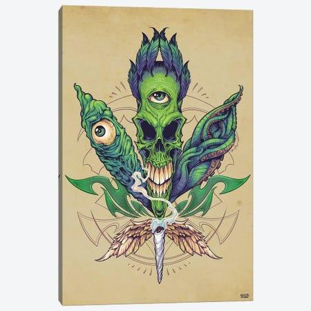 Pot Leaf Skull Canvas Print #FYD28} by Flyland Designs Canvas Wall Art