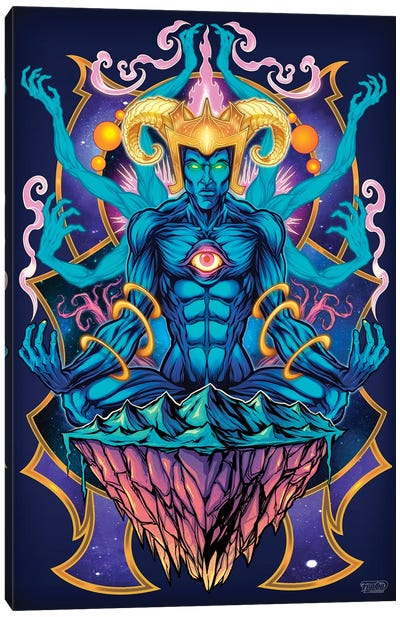 Psychedelic Meditating God Canvas Art Print