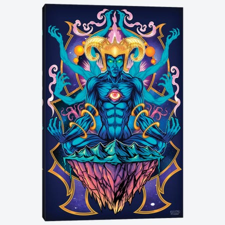Psychedelic Meditating God Canvas Print #FYD29} by Flyland Designs Canvas Wall Art