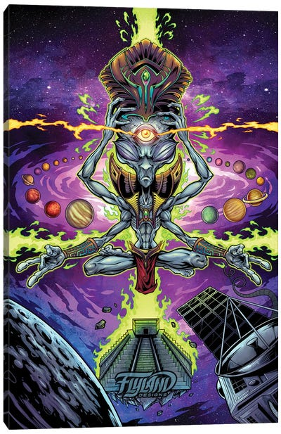 Psychedelic Space Alien Canvas Art Print