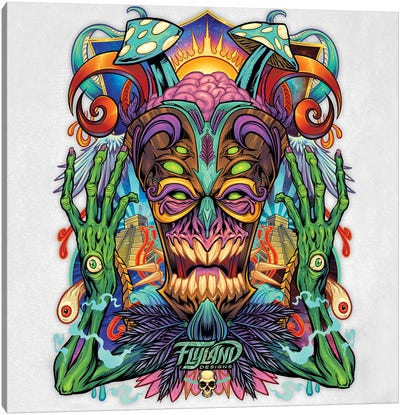 Psychedelic Tiki Creature II Canvas Art Print