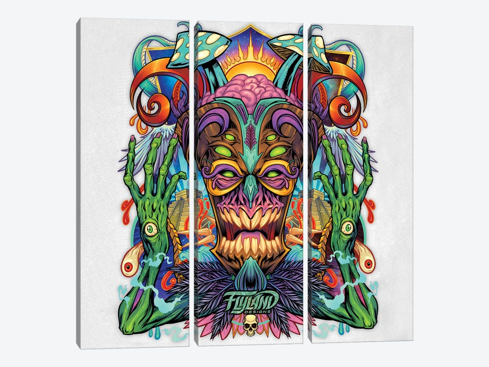 Psychedelic Tiki Creature II by Flyland Designs 3-piece Canvas Art