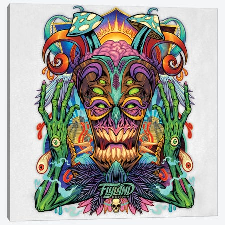 Psychedelic Tiki Creature II Canvas Print #FYD33} by Flyland Designs Canvas Art Print