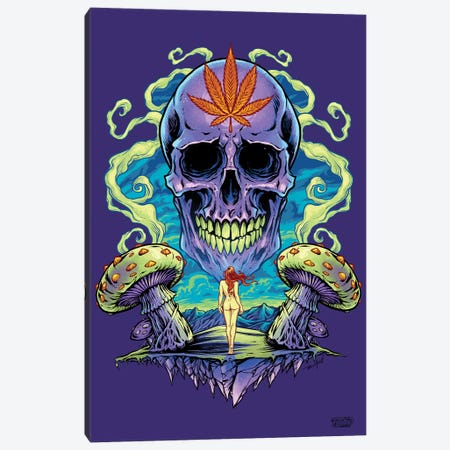 Purple Cannabis Skull With Mushrooms Canvas Print #FYD34} by Flyland Designs Canvas Art