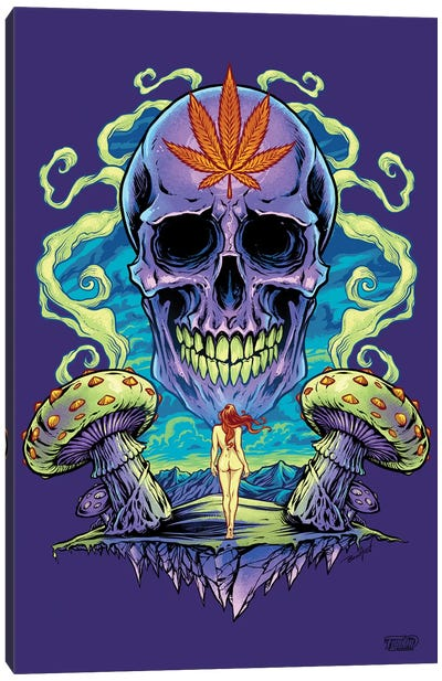 Purple Cannabis Skull With Mushrooms Canvas Art Print