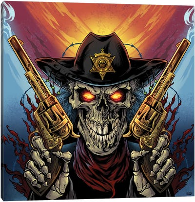 Skeleton Gunslinger Canvas Art Print