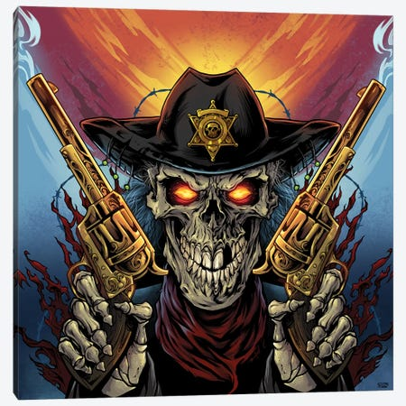 Skeleton Gunslinger Canvas Print #FYD36} by Flyland Designs Canvas Art