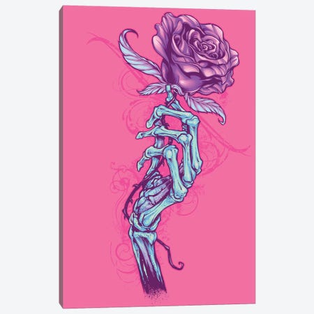 Skeleton Hand with Rose Canvas Print #FYD37} by Flyland Designs Canvas Art