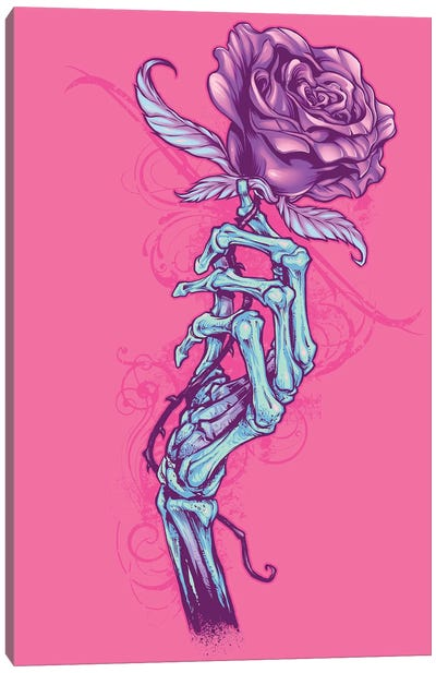 Skeleton Hand with Rose Canvas Art Print
