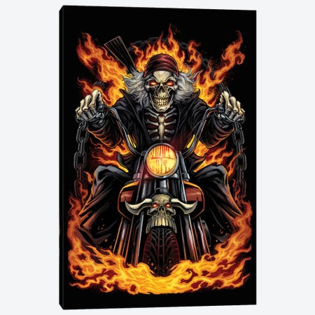 Skeleton Rider Canvas Print #FYD38} by Flyland Designs Canvas Art Print