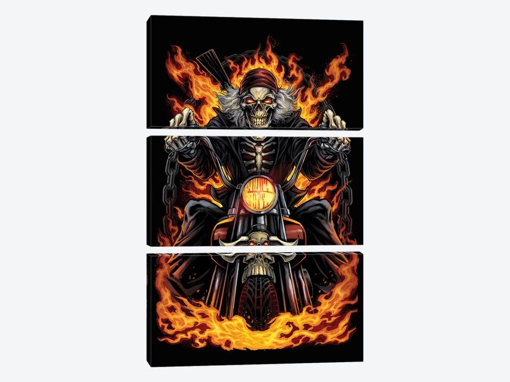 Skeleton Rider by Flyland Designs 3-piece Canvas Print