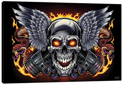 Skull and Pistons Canvas Art Print