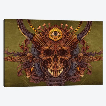 Skull and Raven Design Canvas Print #FYD40} by Flyland Designs Canvas Art