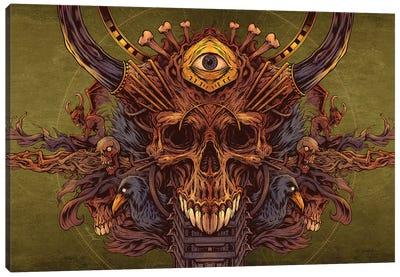 Skull and Raven Design Canvas Art Print
