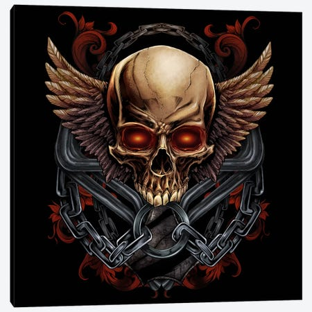 Skull and Wings Canvas Print #FYD41} by Flyland Designs Canvas Art