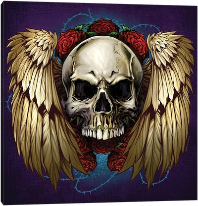 Skull Wings and Roses Canvas Art Print