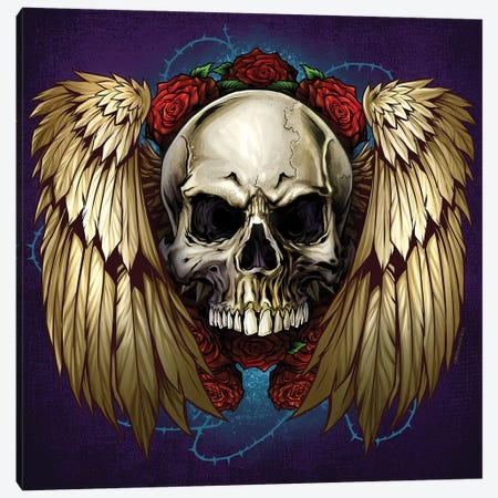 Skull Wings and Roses Canvas Print #FYD44} by Flyland Designs Canvas Art Print