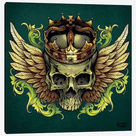 Skull With Crown and Wings Canvas Print #FYD45} by Flyland Designs Art Print