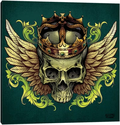 Skull With Crown and Wings Canvas Art Print
